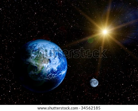 Space landscape - Earth and moon in universe illustration - stock photo