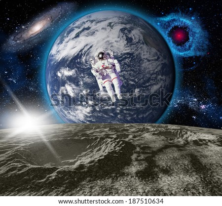 Space landscape. View from the Moon. Elements of this image furnished by NASA - stock photo