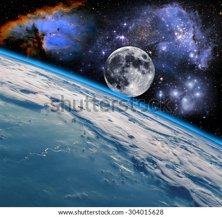 Space landscape, view of the Earth. Elements of this image furnished by NASA.