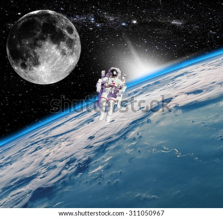 Space landscape, view of the Earth. Elements of this image furnished by NASA