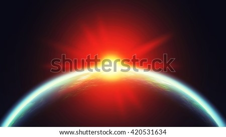 Space landscape with earth and the bright sun. 3D illustration