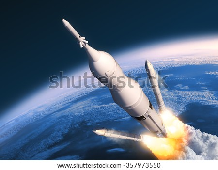 Space Launch System Solid Rocket Boosters Separation. 3D Scene. - stock photo