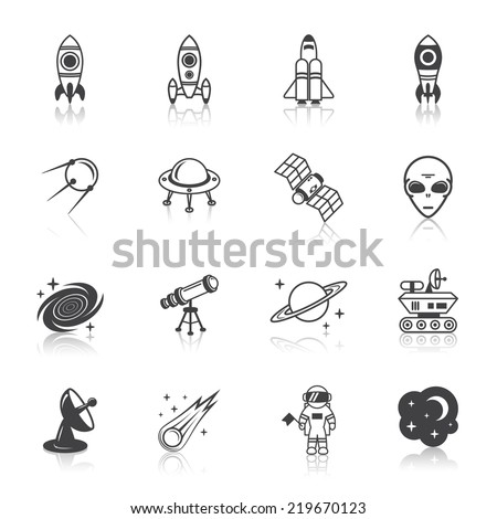 Space line icons set of shuttle astronaut alien and comet  illustration