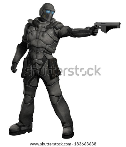 Space Marine Trooper with Pistol. Futuristic sci-fi space marine trooper with pistol firing to his left, 3d digitally rendered illustration - stock photo