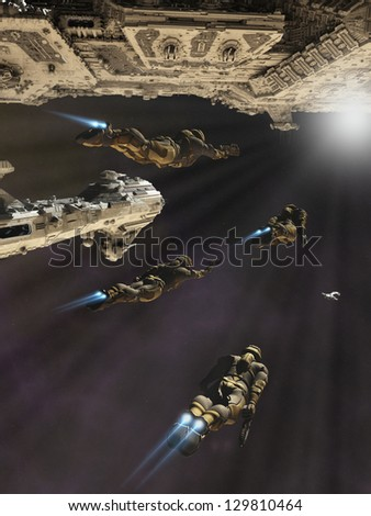 Space marines with jet packs about to board a battle cruiser, 3d digitally rendered illustration - stock photo