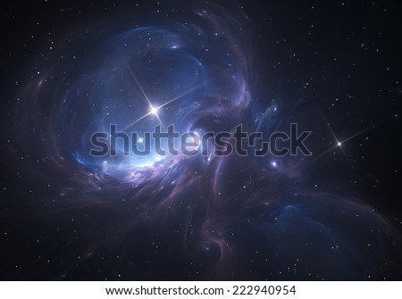 Space Nebula. Cloud of gas and dust blocks the light of distant stars. - stock photo