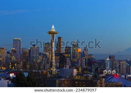Space Needle at Dusk. Seattle, WA. December, 1-st 2014. Beautiful view on Space Needle opens from Kerry Park.