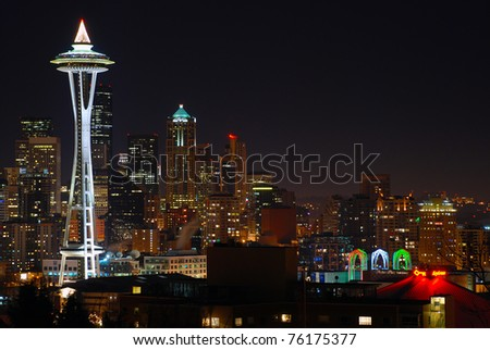 Space needle at night - stock photo