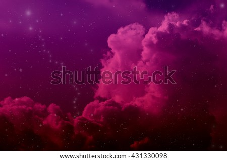 Space of night sky with cloud and stars, purple background. - stock photo