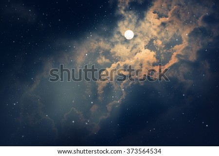 Space of night sky with moon and stars.