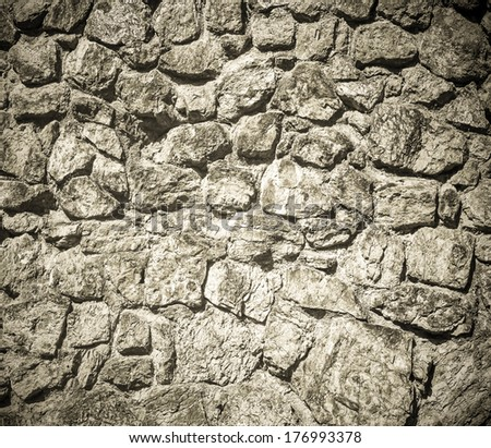 Space of vintage grungy paint black and white brickwall background of cement, stone old dark stucco gray texture as a retro pattern wall in rural room from stonework technology, architecture wallpaper - stock photo