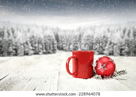 space on board of snow and red mug space  - stock photo