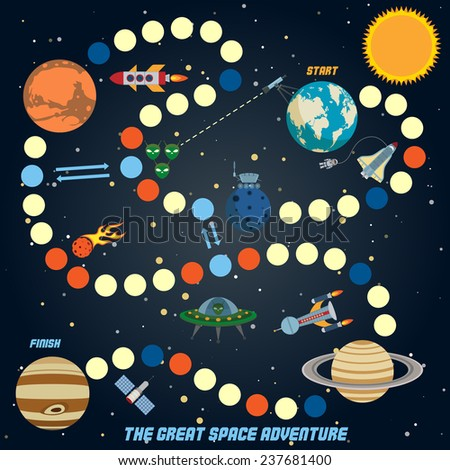 Space quest game with start finish and astronomy icons on background  illustration - stock photo