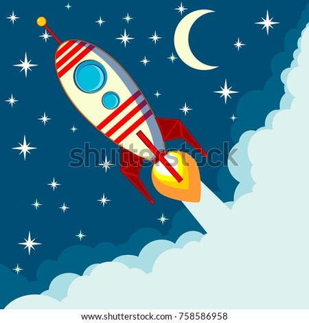 Space rocket flying in space with moon and stars on background print  illustration