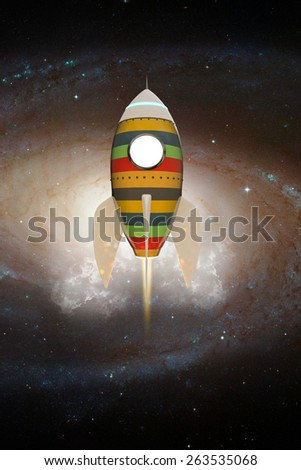 space rocket flying in the space - stock photo