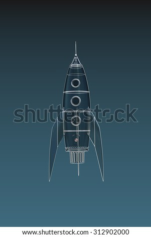 space rocket isolated on blue background - stock photo