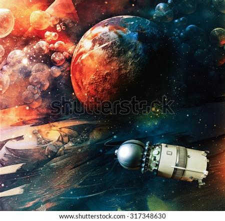 Space satellite  - stock photo