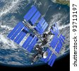 Space satellite, 3D image. - stock photo