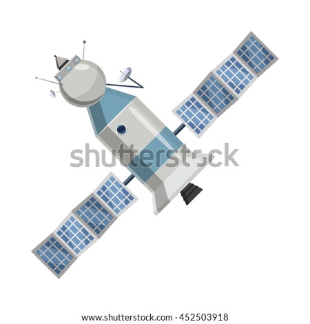 Space satellite icon in cartoon style on a white background