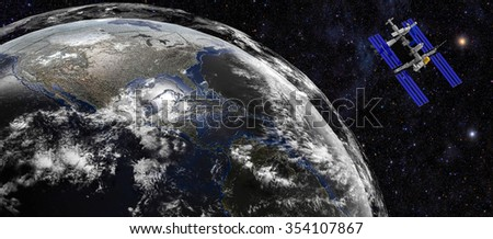 Space satellite over the planet earth / Earth planet in space