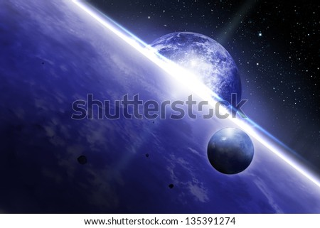 Space scene in deep outer space - stock photo