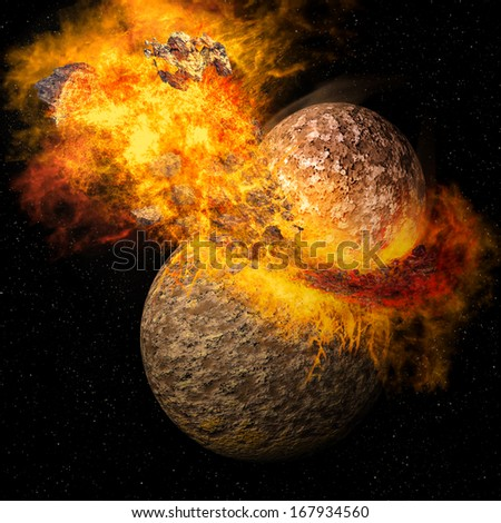 Space scene of asteroid impact on Planet - stock photo