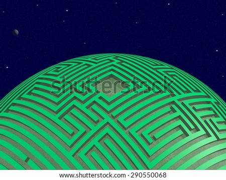 Space scene with apparently intelligent planet wrapped with green maze. Rendered 3d design. - stock photo