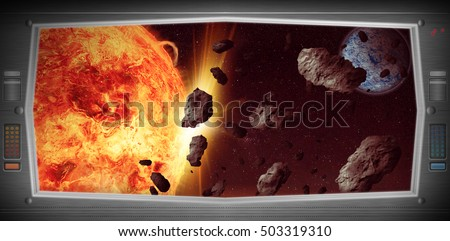 Space scene with asteroids from window view. Original Computer illustration. Not a 3D render.