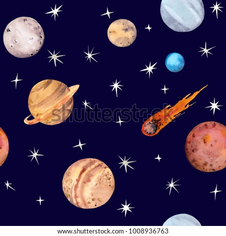 Space doodle repeat pattern Royalty Free Vector Image  Space Repeating Background Patterns