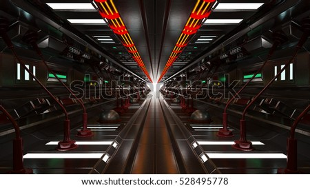 Space ship interior with light 3d rendering