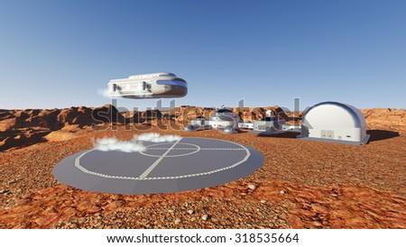Space ship landing on Martian base - stock photo