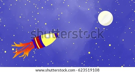 space ship or rocket flying in space to the moon or stars, fun kids or children's science background, adventure travel