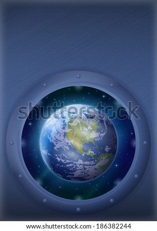Space ship round window porthole with planet Earth and stars on the wall with place for text. Elements of this image furnished by NASA (www.visibleearth.nasa.gov). - stock photo
