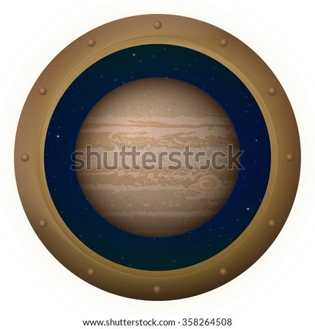 Space Ship Round Window Porthole with Planet Jupiter and Stars, Isolated. Elements of this Image Furnished by NASA - stock photo