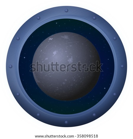 Space Ship Round Window Porthole with Planet Mercury and Stars, Isolated. Elements of this Image Furnished by NASA - stock photo