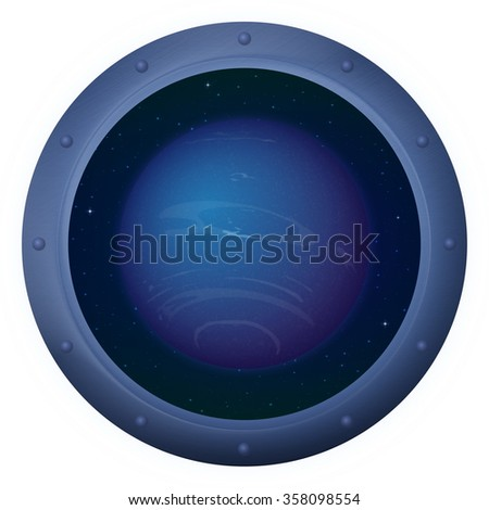 Space Ship Round Window Porthole with Planet Neptune and Stars, Isolated. Elements of this Image Furnished by NASA - stock photo