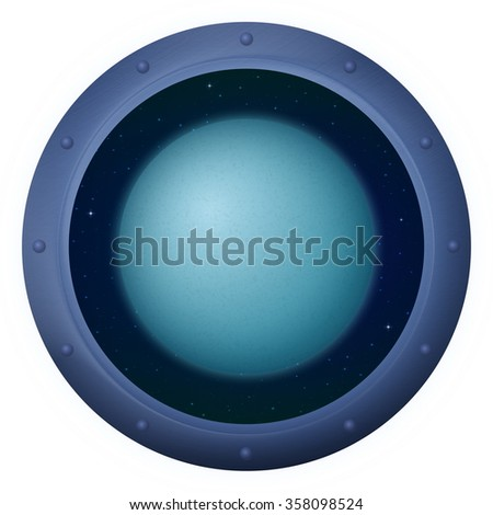 Space Ship Round Window Porthole with Planet Uranus and Stars, Isolated. Elements of this Image Furnished by NASA - stock photo