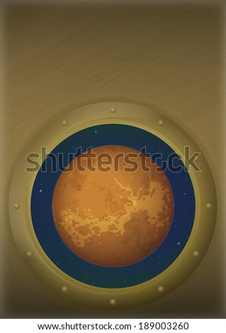Space ship round window porthole with planet Venus and stars on the wall with place for text. Elements of this image furnished by NASA  - stock photo