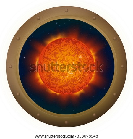 Space ship round window porthole with sun and stars, isolated. Elements of this image furnished by NASA - stock photo