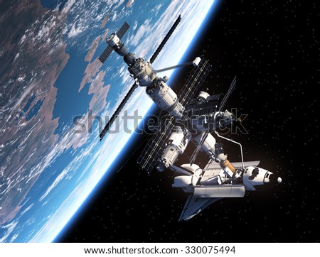 Space Shuttle And Space Station. 3D Scene. - stock photo