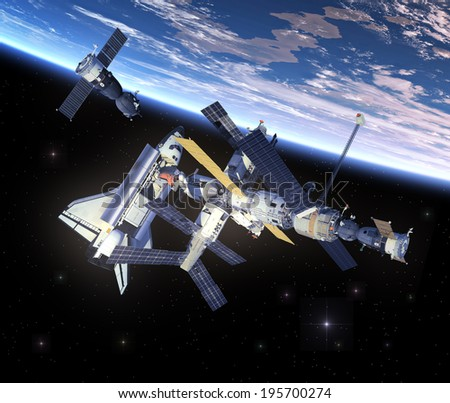 Space Shuttle And Space Station. 3D Scene. Elements of this image furnished by NASA.
