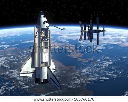 Space Shuttle And Space Station In Space. 3D Scene. Elements of this image furnished by NASA.  - stock photo