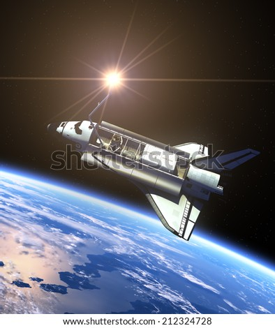 Space Shuttle And Sun. 3D Scene. Elements of this image furnished by NASA.  - stock photo