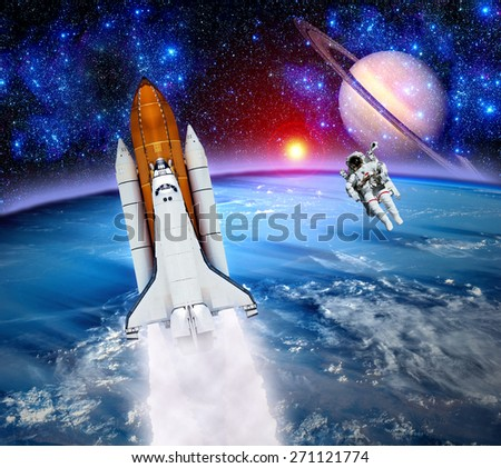 Space shuttle astronaut rocket Earth spaceship planet. Elements of this image furnished by NASA. - stock photo