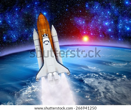 Space shuttle astronaut rocket launch earth spaceship sun. Elements of this image furnished by NASA. - stock photo