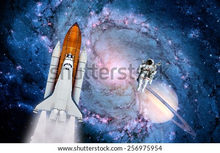 Space shuttle astronaut rocket launch spaceship milky way. Elements of this image furnished by NASA. - stock photo