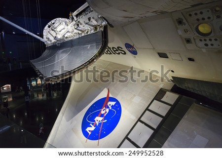 Space Shuttle Atlantis at NASA's Kennedy Space Center CAPE CANAVERAL, FLORIDA November 1th, 2014. Orlando, Florida. This is the rocket used to go to the moon in 1969.  - stock photo