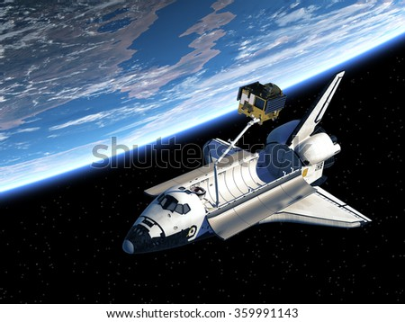 Space Shuttle Deploying Satellite In Space. 3D Scene. Elements of this image furnished by NASA.