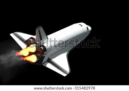 Space shuttle flying 3d rendering. - stock photo