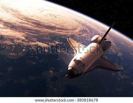 Space Shuttle In Space. 3D Scene. - stock photo